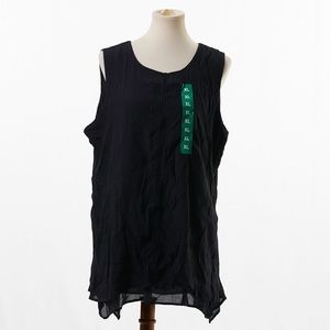Fever Black Double Layer Sleeveless Blouse Size XL